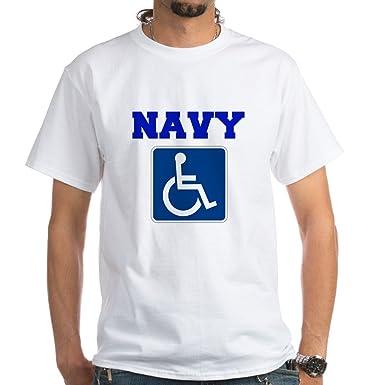 c952abb22a CafePress Navy Disabled Handicapped Veteran T-Shirt 100% Cotton T-Shirt,  White