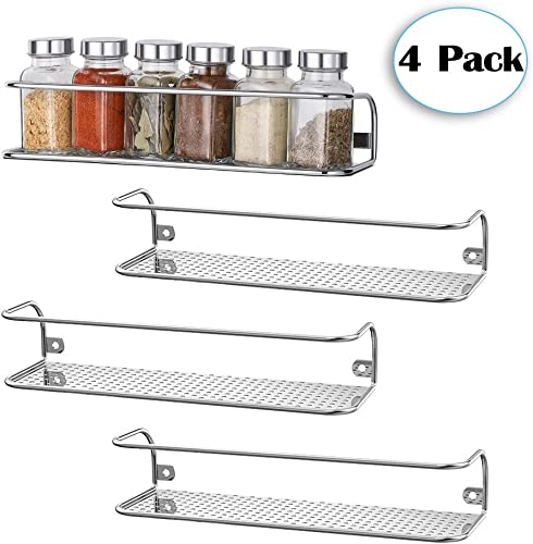 4 Pack Wall Mounted Spice Rack, Seasoning Storage Organizer Shelf for Kitchen, Cabinet, Cupboard, Pantry, Chrome