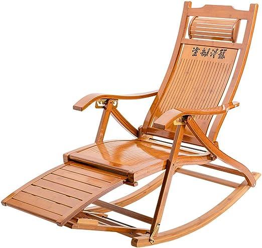 LIX-XYD Sillón reclinable Mecedora de bambú Fold Tumbona Silla de jardín de Edad Avanzada la Almuerzo Silla Sillón Silla Lazy Silla de Masaje de pies, con Toallita de algodón: Amazon.es: Hogar