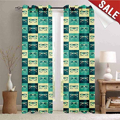 - Hengshu Indie Customized Curtains Pattern with Eyeglasses in Vintage Style Hipster Cool Collection Window Curtain Drape W72 x L96 Inch Petrol Blue Turquoise Cream