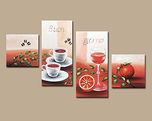 Noah Art-Modern Canvas Wall Art, Orange and Coffee Artwork 100 Hand Painted Gallery-Wrapped Comtemporary Oil Paintings on Canvas, 4 Piece Framed Still Life Pictures for Kitchen Wall Decor
