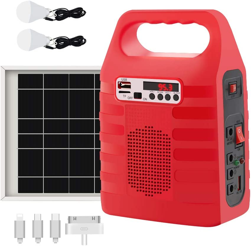 soyond Solar Generator Portable Lighting System for Emergency Power Supply, Home & Outdoor Camping,Including MP3&FM Radio, Solar Panel, 3 Sets LED Lights, Red