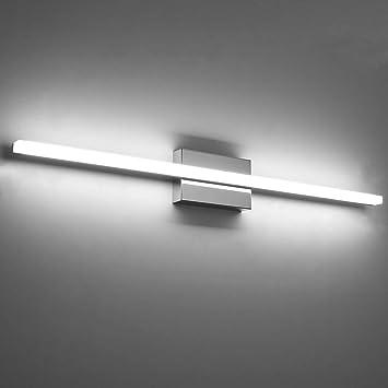 Temgin Bathroom Light Fixtures Led Vanity Lights 36 Inch 20w Cool White 6000k Vanity Lighting Fixtures Modern Over Mirror Wall Light Indoor Wall Lamp Chrome Amazon Com
