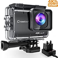 Crosstour Action Camera Real 4K/30fps 20MP WIFI Underwater Cam 40M with EIS Anti-Shake Time-Lapse Recording Plus 2 Rechargeable 1350mAh Batteries and USB Charger and Accessories Sets