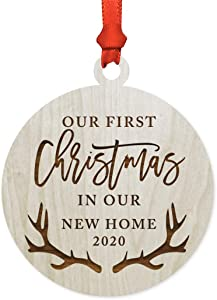 Andaz Press Laser Engraved Wood Christmas Ornament, First Christmas in Our New Home 2020, Deer Antlers, 1-Pack, Includes Ribbon and Gift Bag