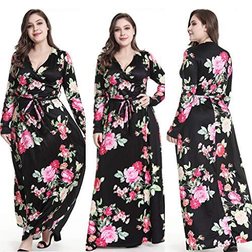 Bamboo Belted Belt - HIRIRI Women's Gowns Formal, Ladies Floral V-Neck Full Sleeve High Waist Lace-up Belt Large Size Long Dress Black