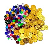 MoMaek 320 Pieces Pirate Toys Gold Coins and Pirate Gems Jewelery Playset, Treasure for Pirate Party (160 Coins+160 Gems)
