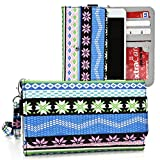 Kroo Multi Tribal Blue | Teal | Pink | Green Smartphone Wallet with Bonus Wrist-let fits Samsung Galaxy S5 | S5 Plus | S5 Active | S5 Sport | Octa-core | Alpha | S6
