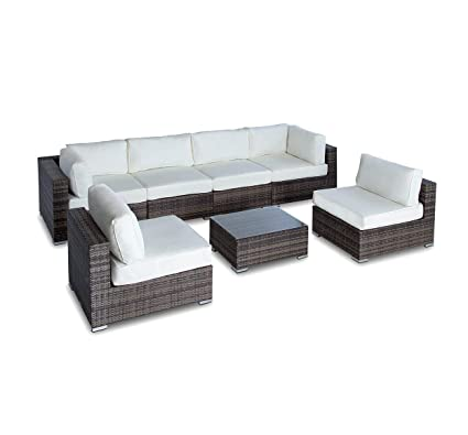 Outdoor Patio Furniture Sofa Modern All Weather Wicker Sectional 7pc Rattan  Resin Couch Set