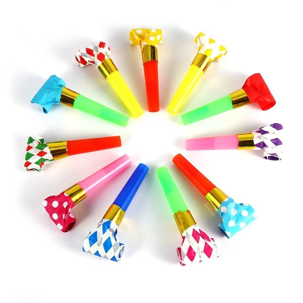 El partido de cumpleaños de los niños multicolores 30Pcs Partido Blowouts sopla juega el regalo adorna las decoraciones Yosoo