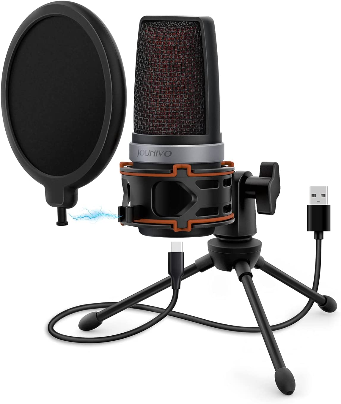 USB Computer Microphone, Cardioid Condenser Mic for Desktop PC/Laptop with Pop Filter, Anti-Vibration Shock Mount, Mute Button, for Online Gaming, Vocals, YouTube, Podcasting, Streaming - JV906