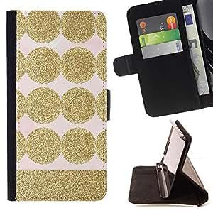 DOT PATTERN PINK GOLD POLKA BLING SHINY/ Personalizada del estilo del dise???¡Ào de la PU Caso de encargo del cuero del tir????n del soporte d - Cao - For Samsung Galaxy Core Prime