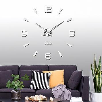 Vangold large 3d diy wall clock modern number clock frameless mirror surface wall sticker home décor