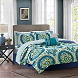 Madison Park Essentials Serenity Queen Size Quilt Bedding Set - Blue, Medallion – 8 Piece Bedding Quilt Coverlets – Ultra Soft Microfiber Bed Quilts Quilted Coverlet