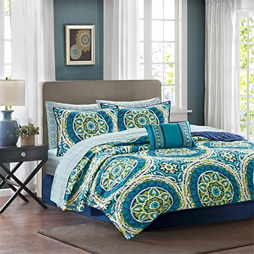 Madison Park Essentials Serenity Full Size Quilt Bedding Set - Blue, Medallion – 8 Piece Bedding Quilt Coverlets – Ultra Soft Microfiber Bed Quilts Quilted Coverlet