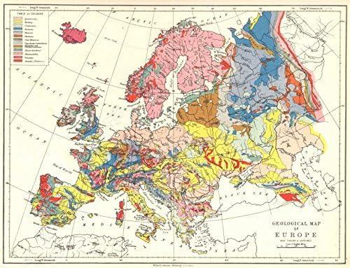 Europa: Mapa Geográfico de Europa; 1897: Amazon.es: Hogar