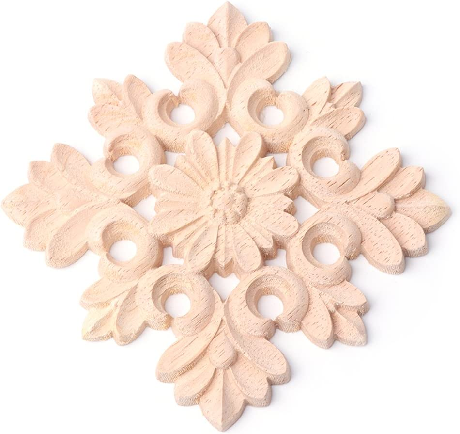 chefensty Exquisite Wood Carved Corner Onlay Applique Frame Furniture Unpainted Home Decor
