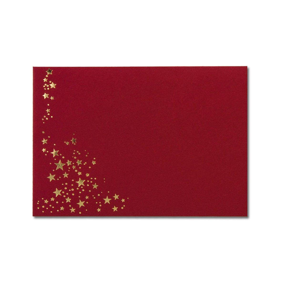 Buste natalizie, pellicola con stelle DIN C6 - 100 Stü ck Umschlag Rot // Sterne Gold pellicola con stelle DIN C6 - 100 Stück Umschlag Rot // Sterne Gold Neuser