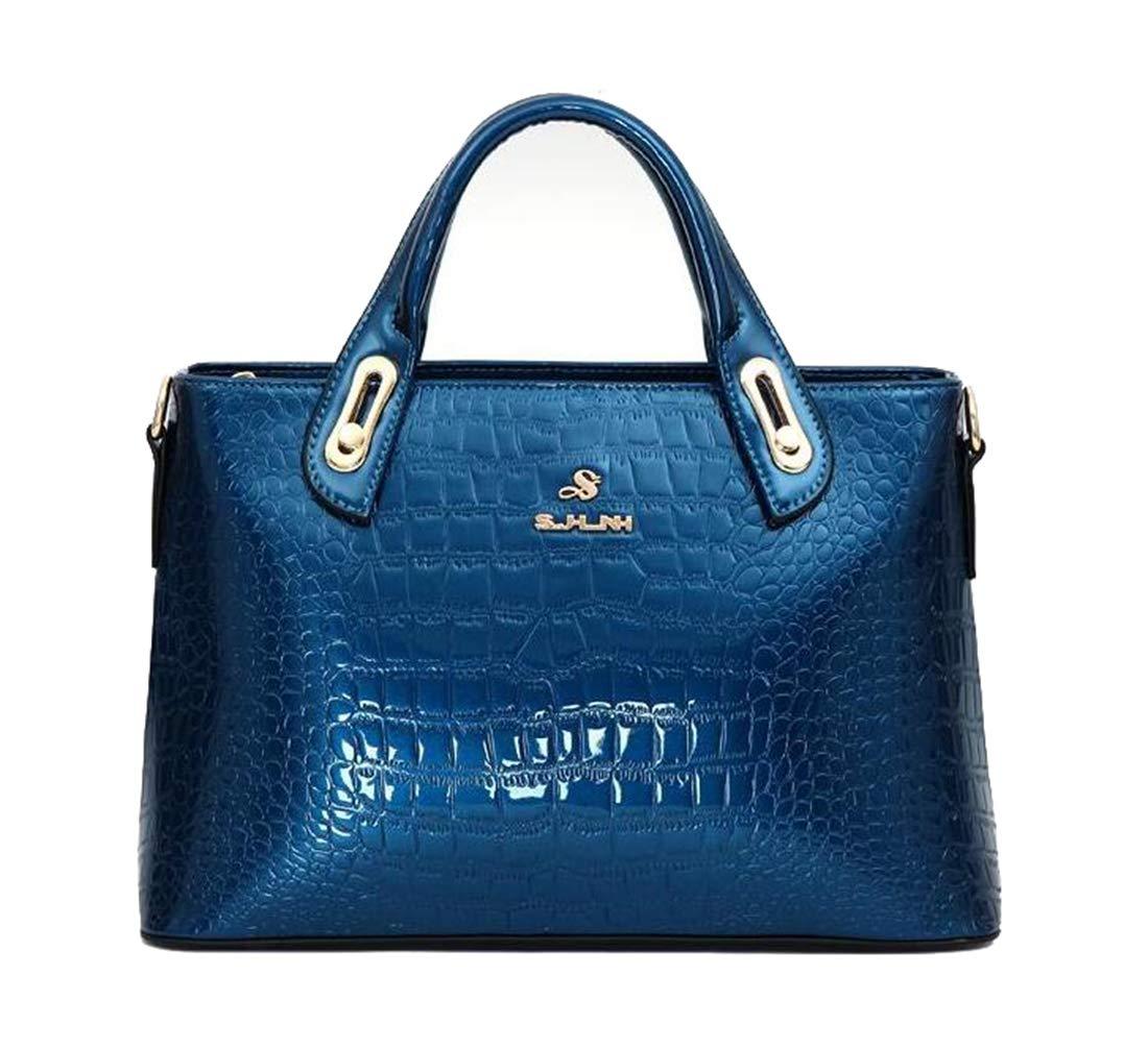 bluee Yan Show Women's Patent Leather Elegant Handbag Crocodile Pattern Shoulder Bag Fashion Top Handle Bag Large Purse (Wine Red)