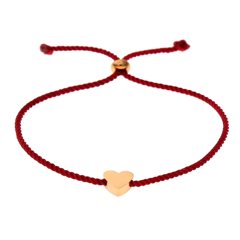 Made by Nami Filigranes Kordel-Armband mit Anh/änger Freundschaftsarmb/änder Geburtstagsgeschenk beste Freundin Rot Herz-Armband Gl/ücksbringer Armband Gr/ö/ßenverstellbar