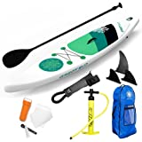 "GREAT SUP Inflatable 12'7'' Explorer Stand Up Paddle Board (6"" Thick) with Adjustable Paddle/Travel backpack/Air Pump/Leash