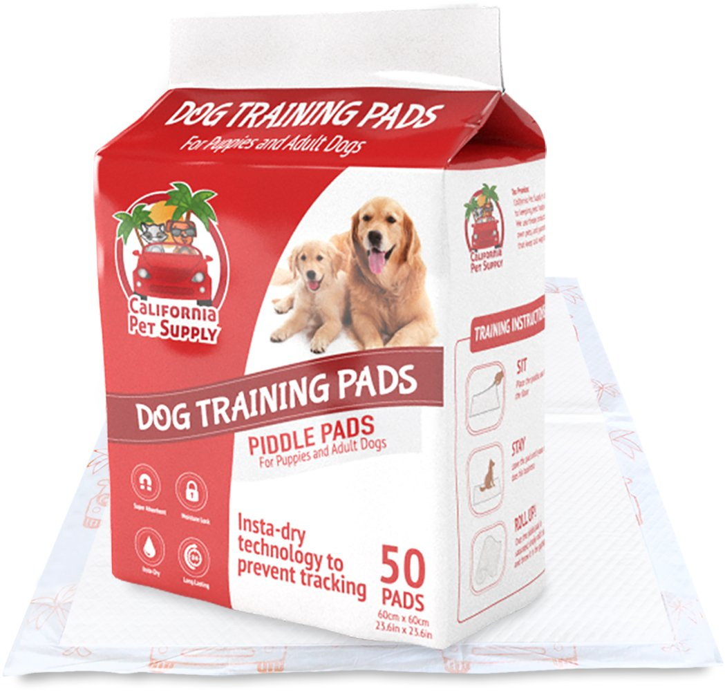 Dog Training Pads- Maximum-Absorption Puppy Pads w/Insta-Dry Technology offer Low Price, & No Tracking. Save Money & Frustration with Leak-Resistant Pads from California Pet Supply - 23.6'' x 23.6'' (50-Pack)