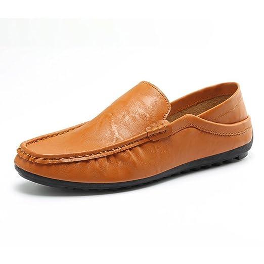 Zapatos de hombre Suave Respirable Cuero Moda Recortar Plano Conducción Excursionismo Deporte Casual Ponerse Zapatos LMMVP (Marrón, 43): Amazon.es: ...
