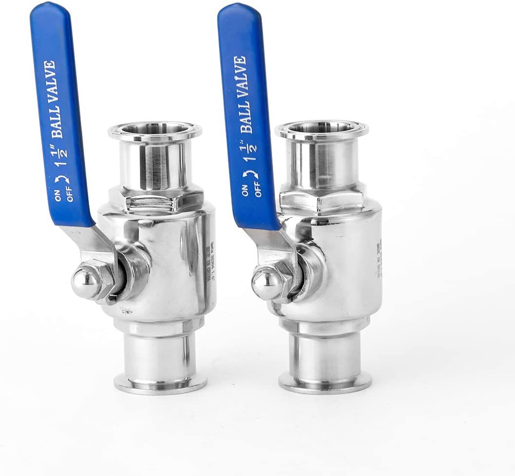 2 Packs 1-1/2 Inches Tri-Clamp Ball Valve, Stainless Steel 304, PTFE Lined. (Tube OD 1-1/2 Inches)