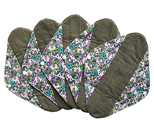 5 Pieces Charcoal Bamboo Mama Cloth/ Menstrual Pads/ Reusable Sanitary Pads (Heavy (12 inch), Colorful Elephant)