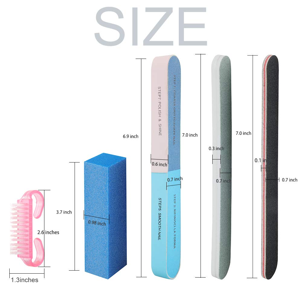 Professional Nail File and Buffers Tool Set - for Natural, Gel & Acrylic Nails - Nail Care Buffer Block Polisher Tool, Washable Double Sided Kit (28 pcs) : Beauty