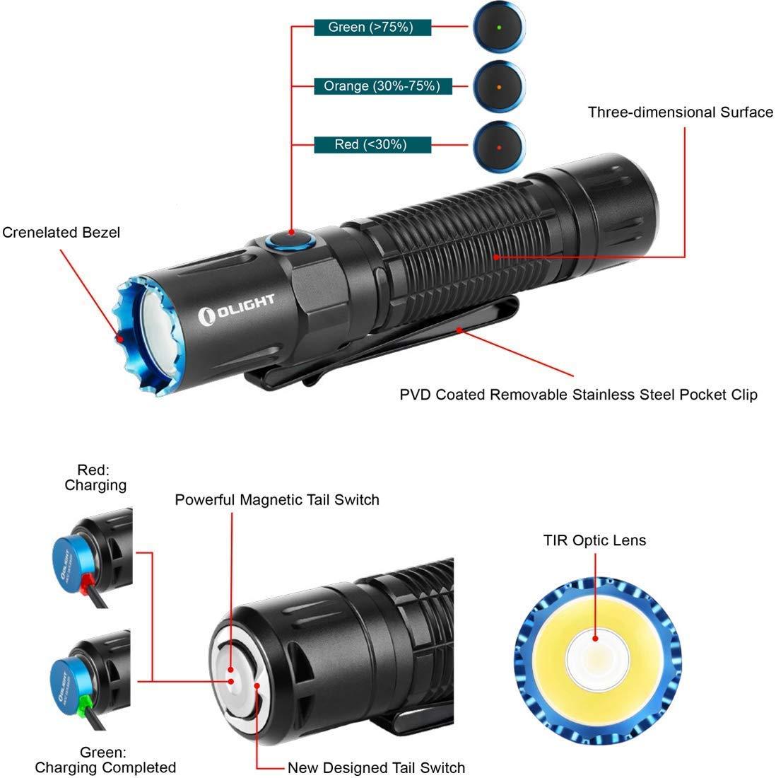 mit 21700 Akku und Batteriefach Olight M2R Pro Taschenlampe 1800 Lumen Neutrales Wei/ß LED USB Magnetische Wiederaufladbare Doppelschalter EDC Tragbare Taschenlampen