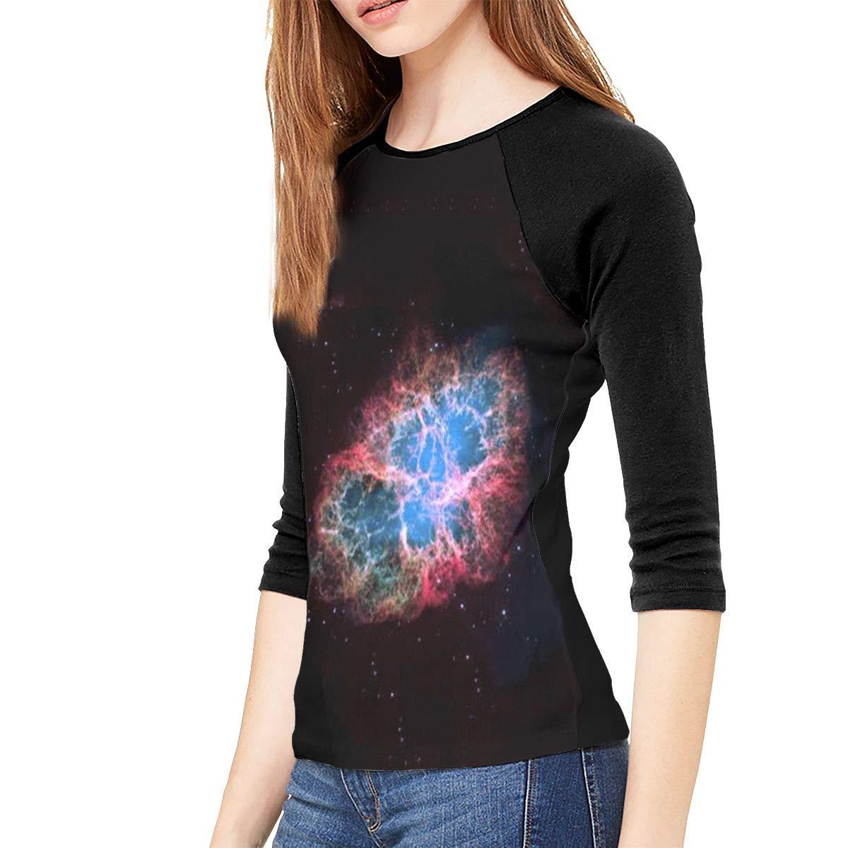 SHDFhgHGF Amazing Galaxy Womens 3//4 Sleeve Casual Scoop Neck Tops Tee