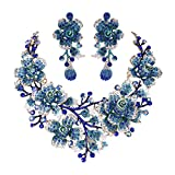 EVER FAITH Women's Crystal Elegant Flower Leaf Bridal Necklace Earrings Set Dark Blue Gold-Tone