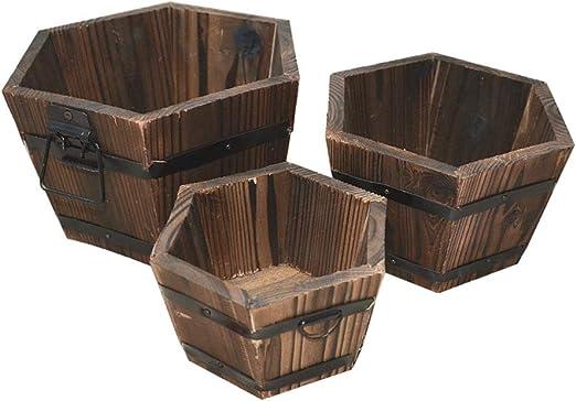 Meltset - Maceta de madera rústica para interiores y exteriores, jardín, patio, balcón, 3 unidades, madera, Hexagonal., tamaño único: Amazon.es: Hogar
