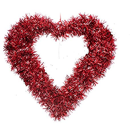 Amazon Com Large 16 Valentine S Day Wreath Red Heart Tinsel
