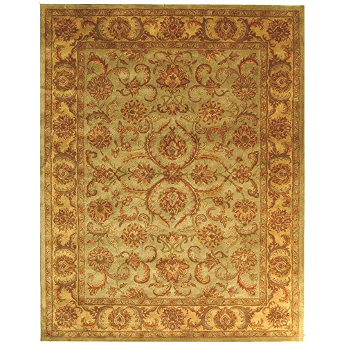 Safavieh Heritage Collection HG811A Handcrafted Traditional Oriental Green and Gold Wool Area Rug (9' x (Floral Pattern Green Wool)