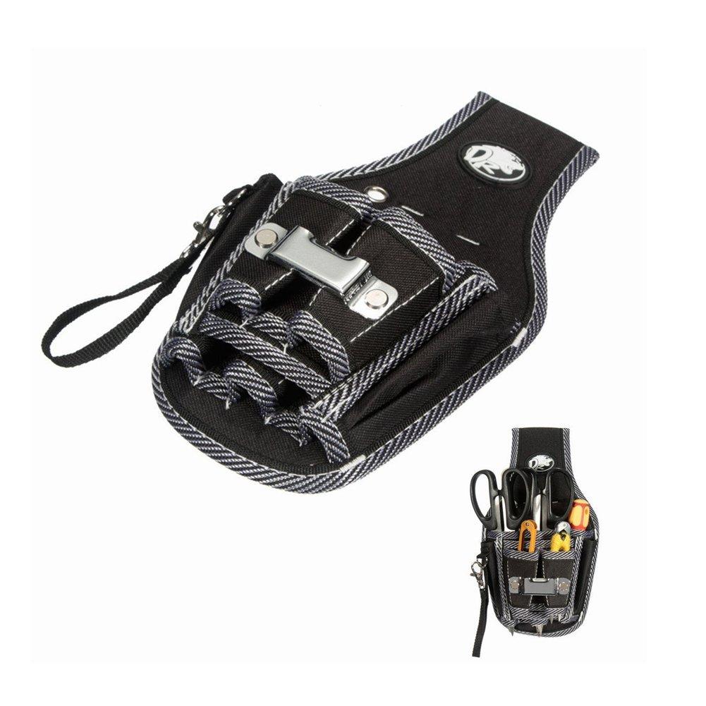 Seasofbeauty Bolsa de Herramientas con Cintur/ón Ajustable de Nylon Multifuncional Negro