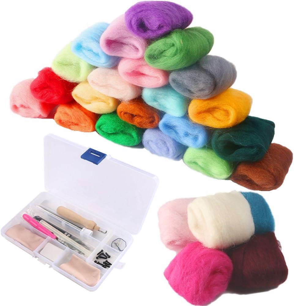 CCMART Kit de inicio de fieltro de aguja con 36 colores Suministros de fieltro de lana Fibra de hilo de lana para hilar a mano Proyectos de manualidades de bricolaje Buen regalo de Navidad