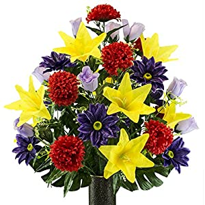 Purple Gerbera and Yellow Lily Mix Artificial Bouquet, featuring the Stay-In-The-Vase Design(c) Flower Holder (LG2173) 31