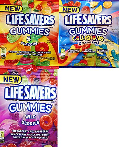 Lifesavers Gummies Variety Bundle, 5-Flavors, Wild Berries & Collisions 3.6-oz (Pack of 6) ()