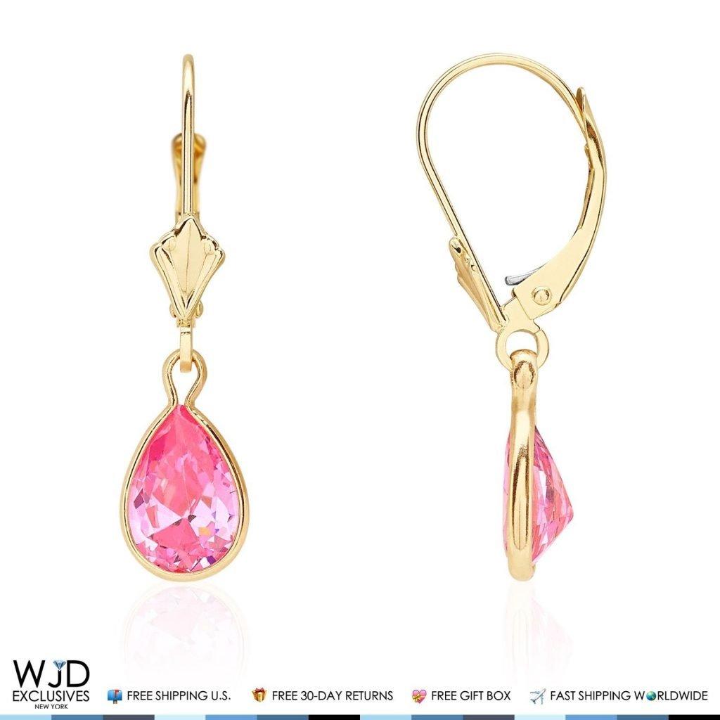 14k Yellow Gold Teardrop Bezel Birthstone Dangle Leverback Earrings 1'', Amethyst by WJD Exclusives (Image #5)