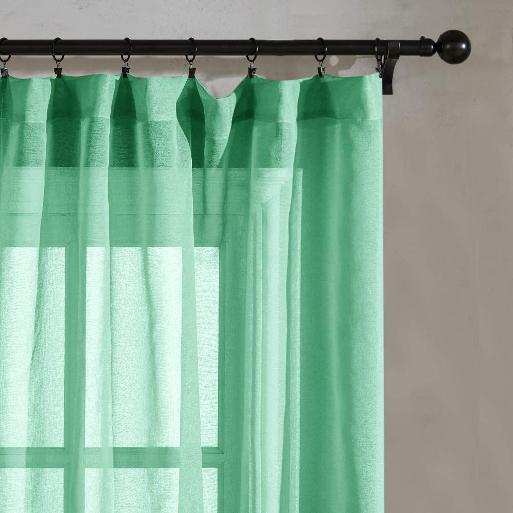 Green Sheer Curtains Girls Room 45 inches Long 2 Panels Nursery Sheers Short Curtains Solid Kitchen Curtains Bathroom Small Windows Basement Rod Pocket