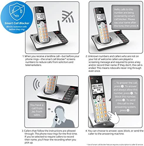 AT&T DECT 6 0 Expandable Cordless Phone with Answering System, Silver/Black  with 2 Handset