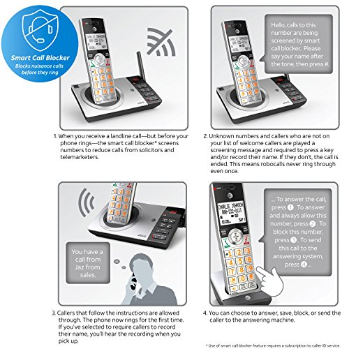 ATT-CL82207-DECT-60-Expandable-Cordless-Phone-with-Answering-System-Smart-Call-Blocker-SilverBlack-with-2-Handset