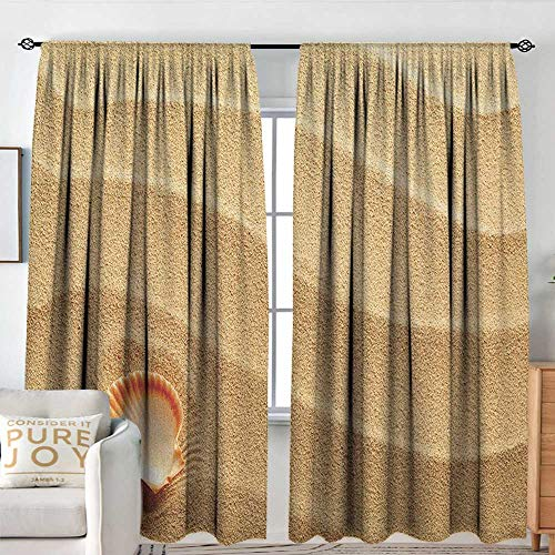 Seashells Window Curtains Little Seashell on Golden Sand Spiritual Sea Animal Coastal Theme Beach Art Print Decorative Curtains for Living Room W 72