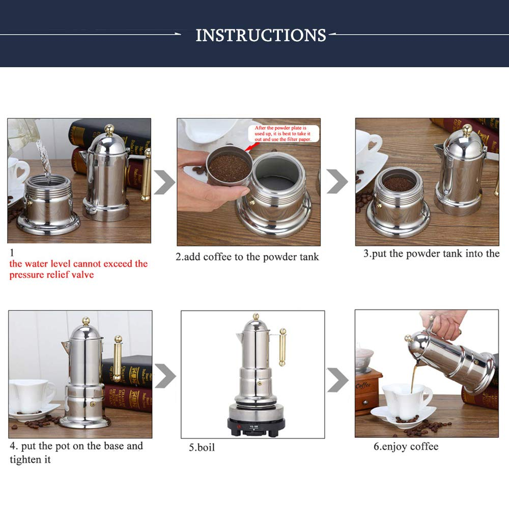 Amazon.com: Stovetop Espresso Maker, Cafetera Express, Moka ...