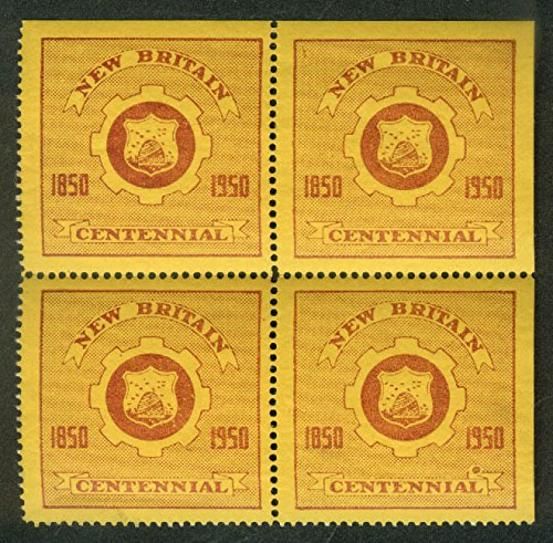 - New Britain Connecticut Centennial block of 4 cinderella stamps 1950