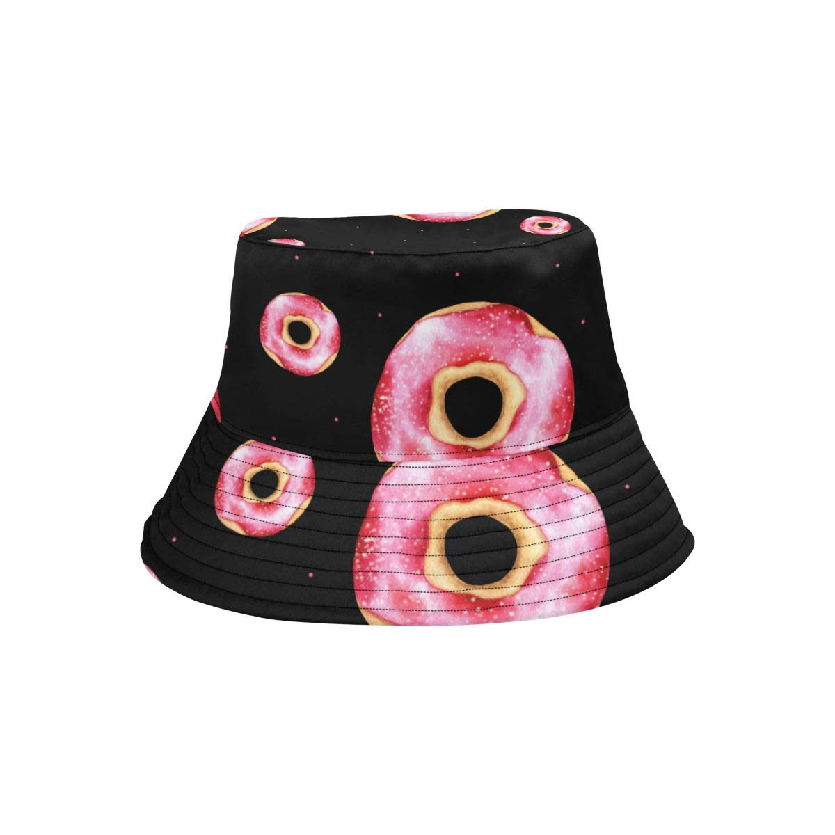 Yummy Cartoon Donut Planet New Summer Unisex Cotton Fashion Fishing Sun Bucket Hats for Kid Women and Men with Customize Top Packable Fisherman Cap for Outdoor Travel Teens