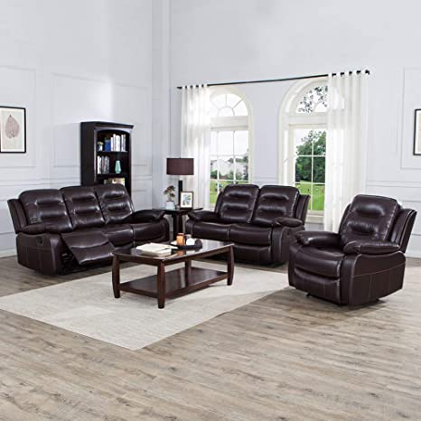 Admirable Juntoso 3 Pieces Recliner Sofa Sets Bonded Leather Lounge Chair Loveseat Reclining Couch For Living Room Brown Creativecarmelina Interior Chair Design Creativecarmelinacom