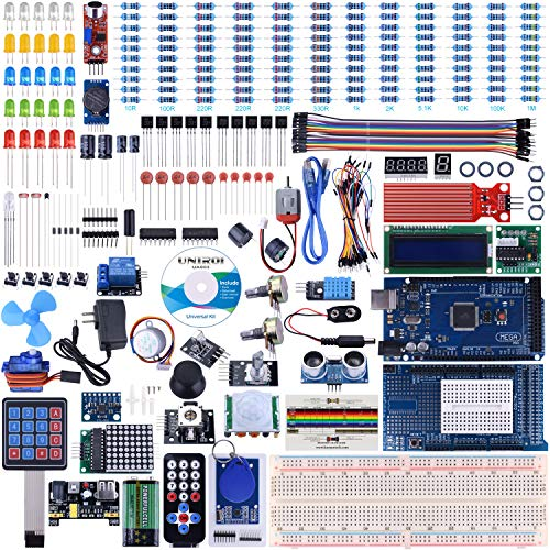 UNIROI for Arduino Mega2560 Kit with Tutorials, Complete Starter Kit with 5V Relay Module, Resistance Card, DC Motor, Motion Detector and More (242 Items) UA003]()